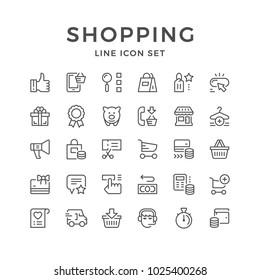 Set line icons of shopping isolated on white