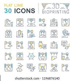 Set of line icons, sign and symbols with flat elements of 3d bioprinting for modern concepts, web and apps. Collection of infographics logos and pictograms.