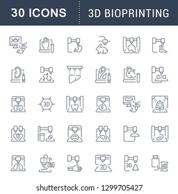 Set of line icons, sign and symbols of 3d bioprinting for modern concepts, web and apps. Collection of infographics elements, logos and pictograms.