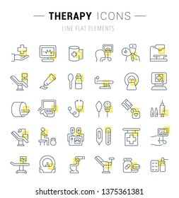 Set of line icons and signs with yellow squares of therapy for excellent concepts. Collection of infographics logos and pictograms.