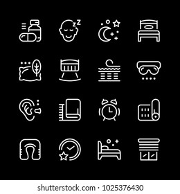 Set line icons of sleep isolated on black
