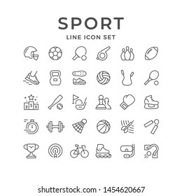 Set line icons of sport isolated on white