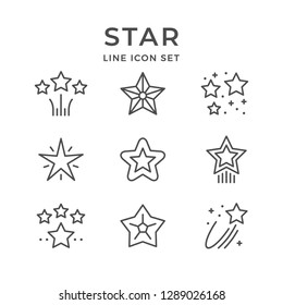 Set line icons of star isolated on white