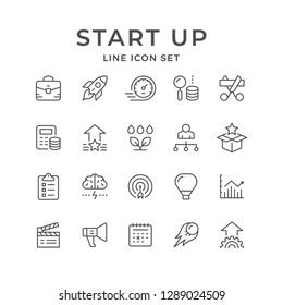 Set line icons of start up isolated on white