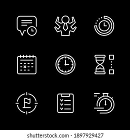 Set line icons of time management isolated on black. Contains such icons as watch, calendar, time period, reminder, target, hourglass, list, manager