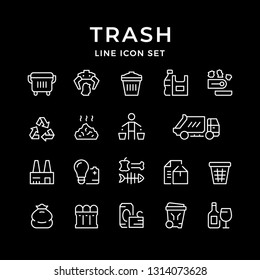 Set line icons of trash isolated on black