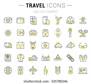 Set  line icons  travel, hotel service, resort vacation, tour planning, recreational rest, holiday trip with open path mobile design and development with elements for mobile concepts. Raster version.