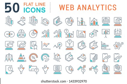 Set of line icons of web analytics for modern concepts, web and apps.