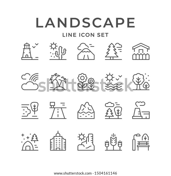Set line outline icons of landscape isolated on white