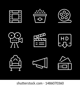 Set line outline icons of movie isolated on black