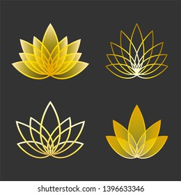 Set of Linear lotus icon. Golden flower symbols
