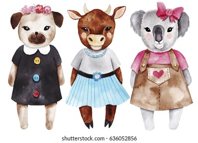 Set with little animal girls. Watercolor fashion cute illustrations. Perfect as prints for nursery, invitations for baby shower. Little dog, koala and cow.