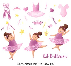 Set of little ballerinas hand drawn illustration. Pink ballet elements:   dress, pointe shoes, flowers, stars, diadema and other. Cute chubby girl ballet dancer character. Ballet stickers.