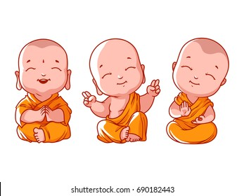 Set of little meditating monks. Cartoon illustration on a white background.