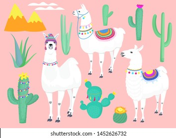 A set of llamas, cacti and decorative elements for nursery, design kids clothing, fabric, wrapping, textile.