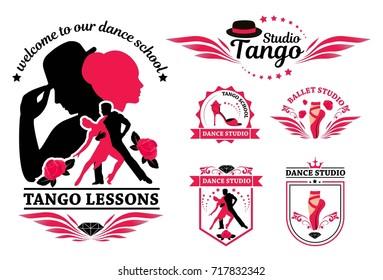 Set logo of dancing couple. Dancer tango illustrations. Dancing people set. The character set for tango. Use for tango studio poster, flayer, web-sites. Tango inscription. Raster version.