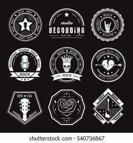 Set of logos  and recording studios. Music design elements with font type and illustration . Vintage label Rock Beast T-Shirt Print . Raster version.