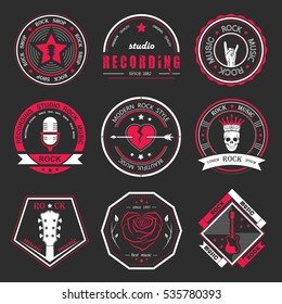 Set of logos rock music and recording studios. Music design elements with font type and illustration . Vintage label Rock Beast. Raster version.