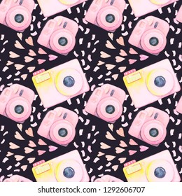 Set of lomography photo cameras with confetti. Seamless watercolor pattern isolated on dark background.