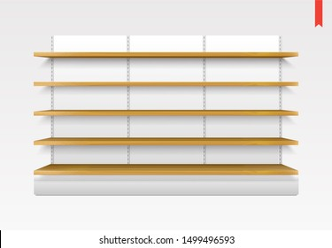 Set of Long Wood Shelves Raster Isolated on the Metal Back Background
