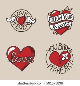Set of love related icons, with hand lettering and handdrawn heart