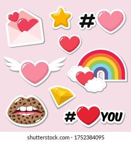 Set of love romantic icon sticker. Stock image love icon sticker
