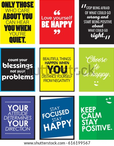 Set Love Yourself Motivational Quotes Love Stock Illustration