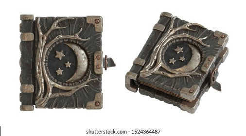 Set of magic book with a leather cover with metal moon phases and tree roots. 3d illustration of a dark leather grimoire isolated on white background. Spellbook concept. Book of shadows. Game graphic.