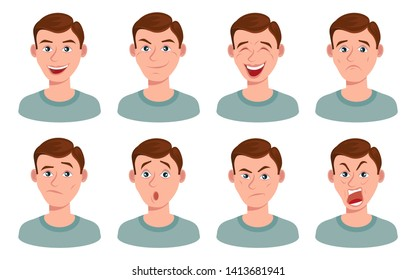 set of man facial emotions