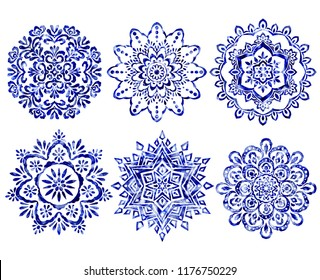 Set of mandala design elements. Watercolor hand painted blue round ornament pattern.