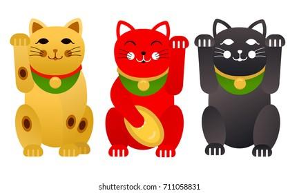 Set of Maneki Neko cats