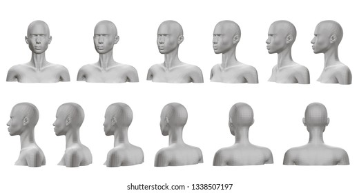 Set with mannequin presented on all sides. 3D. Isolated set with a mannequin with a bust and head. The dummy view rotates from the front side to the back side. 3D illustration