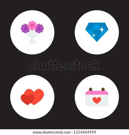 set marriage icons flat style symbols stock illustration 1254604999