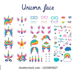 set with masks for photos. Cute unicorn face, glasses with different rims, hair, ears, horns, eyes, decorative elements and inscriptions. Illustration in flat style on a white background.