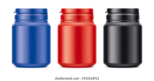 Set of Matt Colored Plastic Bottles with rubber cap. 3d rendering