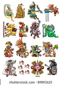 Set of Mayan - Aztec deities isolated on white