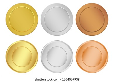 Set of medal winners winners isolated on a white background. Group of gold, silver and bronze awards
