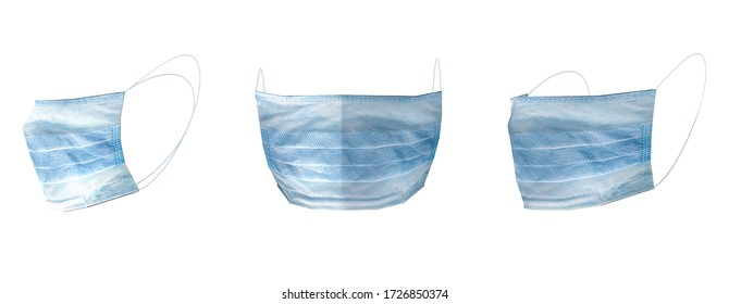 Set of medical masks - template. From different angles to protect coronavirus, infection and contaminated air. 3D rendering illustration.