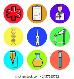 Set of medical round icons, medical equipment items, ambulance, medical history, doctor, dna, thermometer, microscope, dropper, flask. Concept: healthcare, hospitals, drugs, medicine.