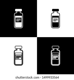 Set Medical vial, ampoule, bottle icons isolated on black and white background. Vaccination, injection, vaccine healthcare concept. Line, outline and linear icon