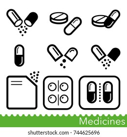Set of medicines icons. Capsules, pills, powders and tablet packs