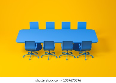 Set of meeting room furniture consisting of blue long rectangular table with office chairs over yellow background. Concept of design. 3d rendering