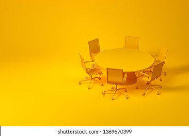 Set of meeting room furniture consisting of yellow round table with office chairs over yellow background. Concept of design. 3d rendering mock up
