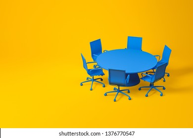 Set of meeting room furniture consisting of blue round table with office chairs over yellow background. Concept of design. 3d rendering mock up