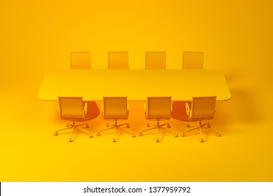 Set of meeting room furniture consisting of yellow long rectangular table with office chairs over yellow background. Concept of design. 3d rendering