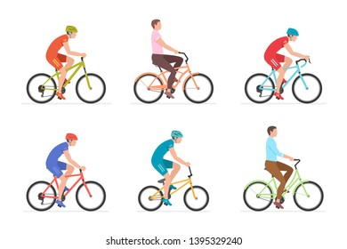 Set of Men riding bicycles. isolated on white background