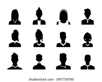 Set of men and women with business avatar profile picture. Avatars silhouette