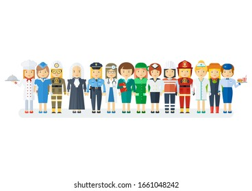 Set of men and women of various professions. Labor Day, employment service, human resources in various industries. Flat cartoon illustration. Objects isolated on a white background.