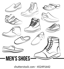 Set of men's shoes painted lines in minimalist style