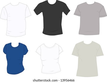 Set of men's and women's blank tee-shirts ready to add your designs